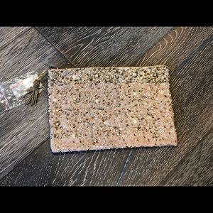 BHLDN sparkly clutch in champagne NWT